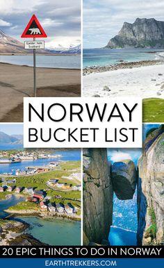 Norway Bucket List: 20 of the best things to do in Norway. Lofoten Islands, Trolltunga, Geirangerfjord, Svalbard, Kjeragbolten, Bergen, Pulpit Rock, Tromso, Senja, Vesteralen, Oslo and more. #norway #bucketlist