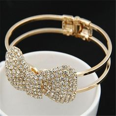 Fashion New Brand Design Luxurious 18K Gold Charm Crystal Cubic Zircon Diamond Beads Bowknot Bracelet For Women Jewelry D019