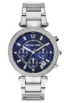 Free shipping and returns on MICHAEL Michael Kors Michael Kors 'Parker' Chronograph Bracelet Watch, 39mm at Nordstrom.com. Two rows of eye-catching crystals trace the distinct bezel of a two-tone bracelet watch. Luxurious crystal markers add flare to a textured dial with a three-eye chronograph and date window.