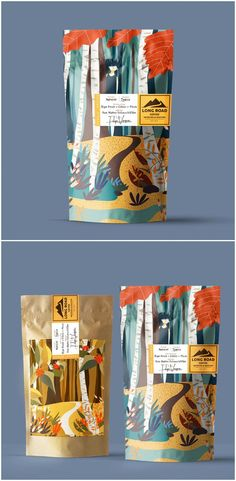 Branding, Packaging Design and Illustration for California Organic Coffee Design Agency: Nacho Huizar by LATTE co. Brand / Project Name: Long Road Coffee Location: Mexico Market Country: United States America Category: World Brand Packaging Design Society Branding And Packaging, Packaging Box, Food Packaging Design, Coffee Packaging, Coffee Branding, Corporate Branding, Organic Packaging, Chocolate Packaging, Packaging Dielines