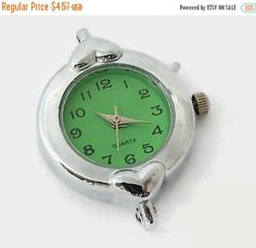 ON SALE 1 Quartz Watch Face, Silver Tone with Green Face - craft supplies, jewelry making W29-S-Gn by AndreasArtJewelry on Etsy