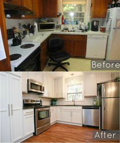 Before and After of our ugly 1960's split level kitchen remodel, Original kitchen. We ripped out the cabinets because they smelled so bad of cigarette smoke. #baystreetbungalows #houseflip #remodel #splitlevelflip #beforeandafter