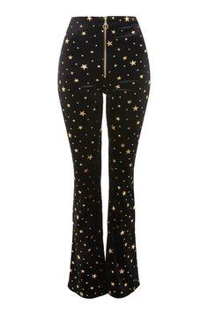 Star Velvet Flared Trousers - Clothing