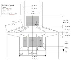TARDIS console plans, with measurements in cm