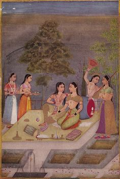 Ladies of the Zenana (Womens' Quarters) on a Terrace at Night - Century Rajput Painting - Old Indian Arts Mughal Miniature Paintings, Mughal Paintings, Indian Paintings, Indian Artwork, History Of India, Asian History, Jaisalmer, Udaipur, Exotic Art