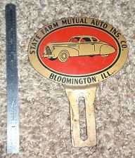 "vintage ""State Farm Mutual"" Licence Plate Badge Topper Bloomington IL."