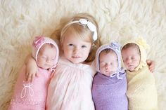 What a treasure - newborn babies triplets and sister