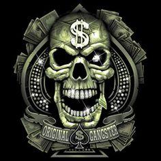 SHIRT CUSTOM DESIGN ORIGINAL GANGSTER SKULL DOLLAR SIGN CASH MONEY