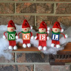 Alphabet Elves Christmas Ornaments or Favor/ Class/Office Gift- You pick letters Easy Christmas Decorations, Christmas Ornaments To Make, Christmas Elf, Simple Christmas, Christmas Projects, Holiday Crafts, Christmas Goodies, Christmas Ideas, Holiday Decor