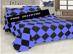 16'' 5 Pc Egyp.Cotton Aqua Blue & Black Diamond Style Duvet Cover Set King.
