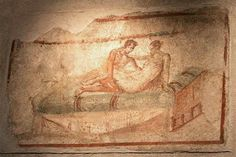 Pompeii, Italy - images such as these were painted on the walls of the brothels in this ancient Roman city. Possibly a menu of services?