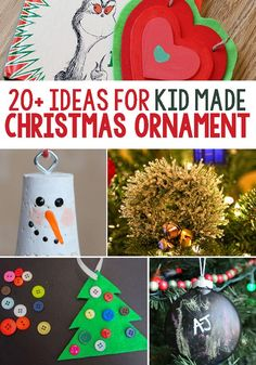 Learn how to make these beautiful 20+ handmade kid ornaments for your Christmas tree! These crafts are the perfect ornaments to decorate the classroom, your home, or to give away as gifts! Your kids will love making these festive Christmas crafts. Try them today! #christmas #kids #ornaments #crafts #christmascrafts #diy