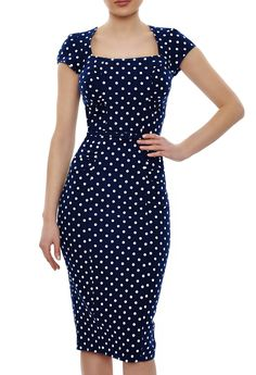 Miranda Polka Dot Dress | Navy Blue Bodycon Dress, Knee Length with Capped Sleeves