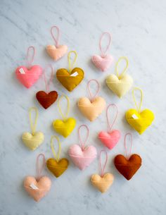 Free pattern for felt hearts