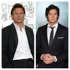 Liam Neeson and Benjamin Walker. These two aren't related but Ben really looks like a younger version of Liam. For all intents and purposes, they could be father and son. Benjamin Walker, Liam Neeson, Could Play, Father And Son, Then And Now, Candid, Famous People, Beautiful Men, Sons