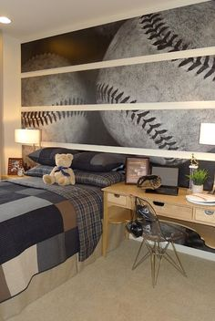 boys baseball themed room with oversize baseball wall art