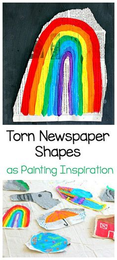 Easy Art Project for Kids: Use torn newspaper shapes as painting inspiration! (inspired by the popular children's book, Beautiful Oops! Easy Art Projects, Projects For Kids, Crafts For Kids, Arts And Crafts, Classroom Projects, Painting For Kids, Art For Kids, Children Painting, Beautiful Oops