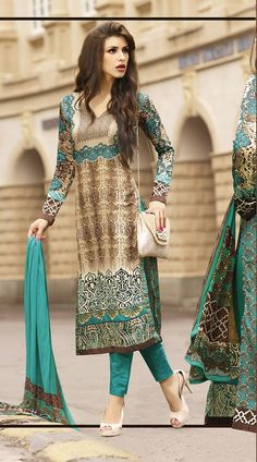 Fantastic Cream And Firozi Printed Cotton Cigarette Pants With Kameez