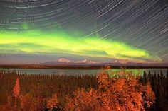green aurora help the Moon illuminate the serene Willow Lake and the snowy Wrangell and Saint Elias Mountains in eastern Alaska, USA.