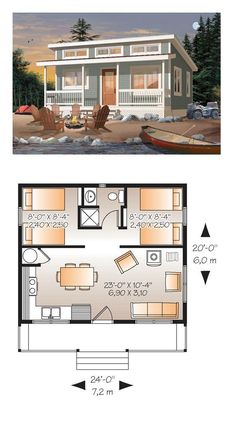 Cabin Style House Plan 76166 with 2 Bed, 1 Bath - - House Plan 76166 - Cabin Style House Plan with 480 Sq Ft, 2 Bed, 1 Bath. Tiny House Cabin, Tiny House Living, Tiny House Design, Cottage House, Tiny House 2 Bedroom, Small Bedrooms, Master Bedrooms, Tiny Beach House, 2 Bedroom House Plans