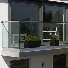 Frameless Glass Balustrade - Domestic & light commercial frameless balustrade systems - Top mount and fascia mount glass channel balustrade. Balcony Glass Design, Glass Balcony Railing, Balcony Grill, Balcony Railing Design, Staircase Railings, Staircase Design, Deck Railings, House Extension Design, House Design