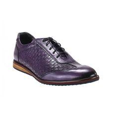 5759e43d2a00 Pánske športové kožené topánky fialovej farby vhodné na každodenné nosenie  - fashionday.eu