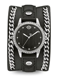 Harley-Davidson Women's Crystal Leather Cuff w/Steel Chain Watch, Black -- Be sure to check out this awesome product. (This is an affiliate link) Botas Harley Davidson, Harley Davidson Watches, Harley Davidson Jewelry, Leather Chain, Leather Cuffs, Black Leather, Leather Jacket, Harley Davison, Harley Apparel