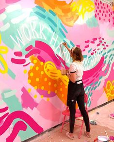 Murals street art - Totally in my element 💗🎨🖌I wish I could do this all the time maybe not everyday bc my 30 year old lady body is sore lol outtashape BUT… Mural Wall Art, Mural Painting, Kids Wall Murals, Graffiti Wall, Paintings, Painting Inspiration, Art Inspo, School Murals, Murals Street Art