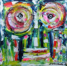 Tiki pretty eyes Olie på lærred  (40x40) 2016 af Svend Christensen