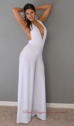 Women's White Silk Crepe & Nappa Leather Jumpsuit | For women ...