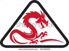 Illustration of a silhouette of a red dragon viewed from the side set inside triangle shape on isolated background done in retro style.  #dragon #silhouette #illustration