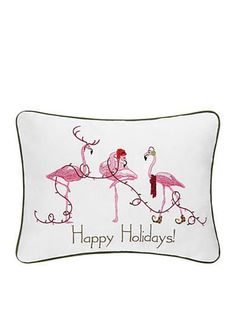 C&F Happy Holidays Flamingo Pillow