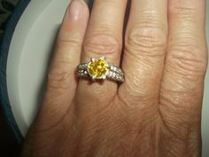 Canary Yellow Fire CZ Sterling Silver Ring Size 5 by missy69