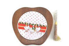 Vintage Wooden Cheese Plate with Porcelain by BelleBloomVintage