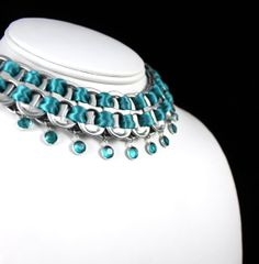 Pop Tabs Necklace - Blue Zircon Swarovski Crystal Channel Drops, Choice of Ribbons - Statement Necklace, Eco Friendly