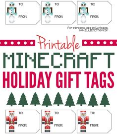 Printable Minecraft Christmas Gift Tags - ellie petrov