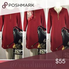 """🆕🌹Prelude Dress🌹 Prelude Grommet Dress NWT Medium Zipper Front Gold Tone Grommets Along Hem In The Front Scoop Neckline 3/4 Sleeves Length: 37"""" (top of shoulder to bottom of hem) Bust: 19"""" (armpit to armpit) Shell:  83% Polyester             13% Rayon             4% Spandex Lining: 100% Polyester Prelude Dresses"""