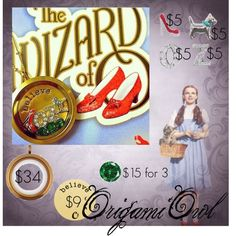 """Wizard of Oz Origami Owl"" by hannah-copa on Polyvore"