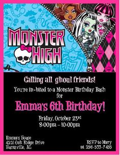 monster high birthday party invitation -- skullette -- halloween, Party invitations
