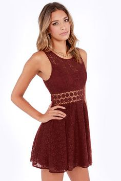 Cute Burgundy Dress - Lace Dress - Cutout Dress - Skater Dress - $51.00
