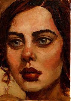 "NEW WOMEN 7 by Mollie Erkenbrack Oil ~ 7"" x 5"", (SOLD)"