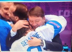 Sochi 2014. After the bronze game couple of great ones had an emotional moment. Teemu Selänne and Jari Kurri.