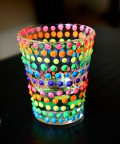 Puffy Paint or Glass Paint decor Recycled Decor, Puffy Paint, Sorority Crafts, Shot Glasses, Diy Glasses, Painted Wine Glasses, Dot Painting, Glass Collection, Glass Design