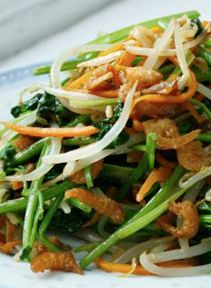 Stir Fried Cilantro with Bean Sprouts and Shrimp. I could live the rest of my life on a steady diet of cilantro...