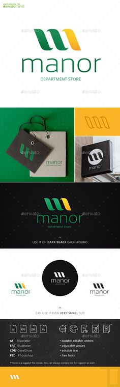 """Manor Letter M Logo Template by Tovarkov Manor logo is a """"M�20letter logo that can be widely applied in many businesses and spheres for company name starting with """"M� it w"""