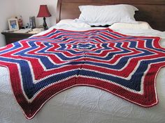 Red White and Blue stars 'n stripes afghan by SonKissedKrochet, $90.00