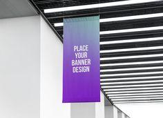 Free Indoor Advertising Hanging Wall Banner Mockup PSD
