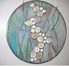 stained glass bubbles | Round Pink/Blue 'Bubbles' Stained Glass Panel by Nanantz on Etsy