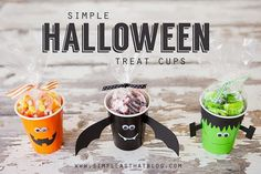 Halloween Treat Cups do with healthy foods: popcorn, goldfish, etc.