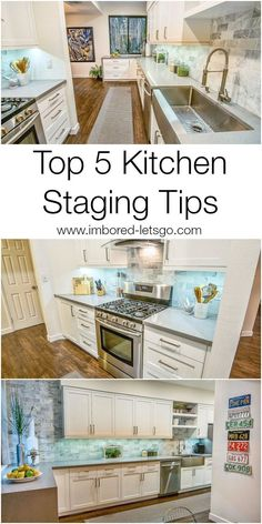 Top 5 Tips for Staging Your Kitchen to Sell. home staging, how to stage a kitchen Sell My House, D House, Selling Your House, Home Design, Design Ideas, Kitchen Staging, Bathroom Staging, Decorating Kitchen, Kitchen Decor
